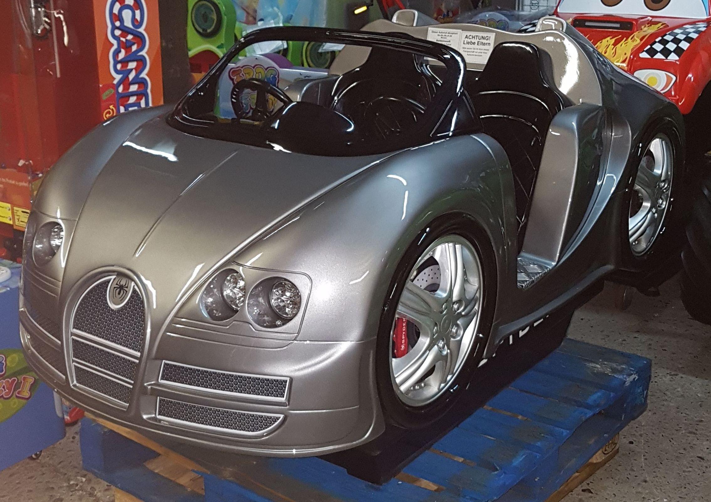 Rennwagen mit LED, silber-metallic